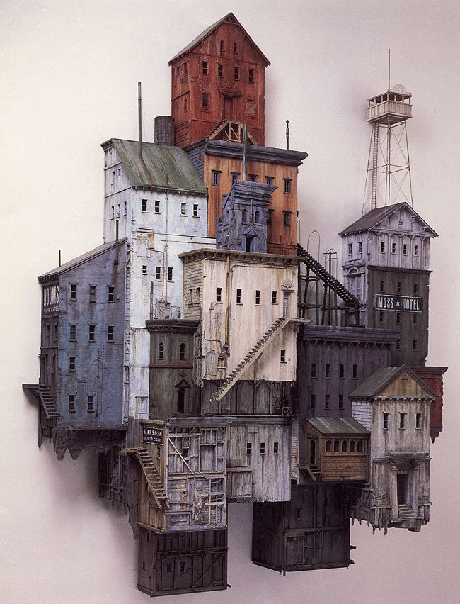"""Bunker Hill"" - Michael McMillen, 1985 (miniature painted wood  metal wall construction)"