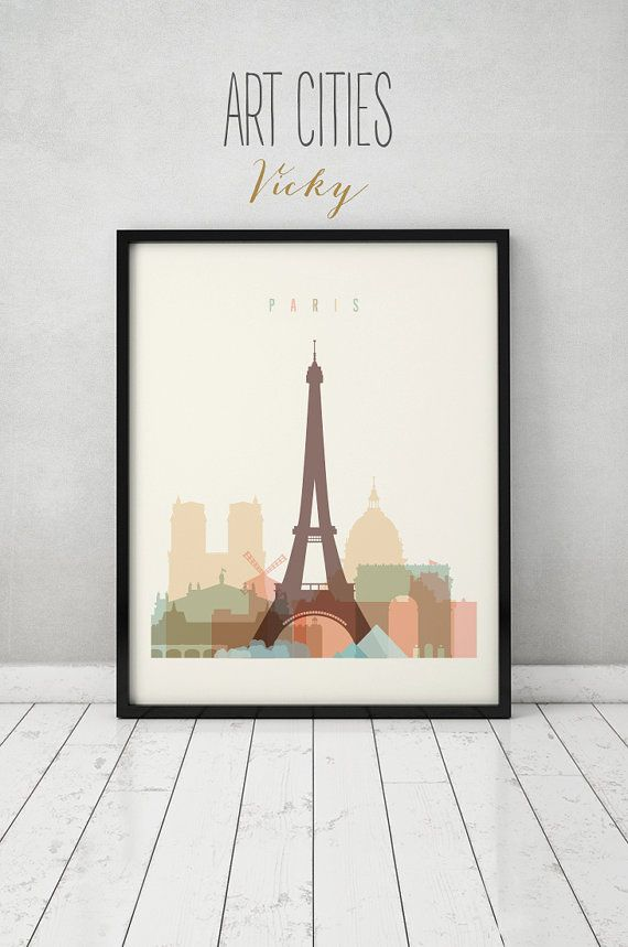 Paris print, Poster, Wall art, France cityscape, Paris skyline, City poster, Typography art, Gift, Home Decor Digital Print ART PRINTS VICKY