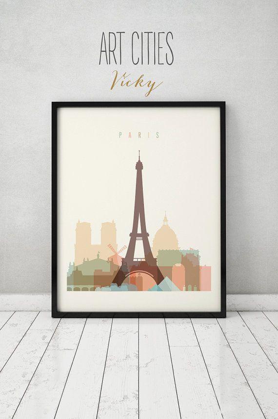 Parijs afdrukken, Poster, kunst aan de muur, Frankrijk stadsgezicht, de skyline van Parijs, stad poster, typografie kunst, cadeau, Home Decor
