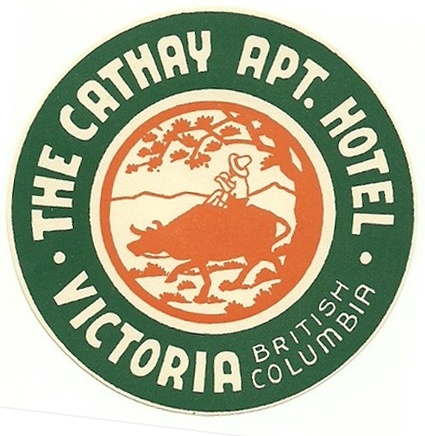 The Cathay Apt. Hotel Decal, Victoria, BC   undated