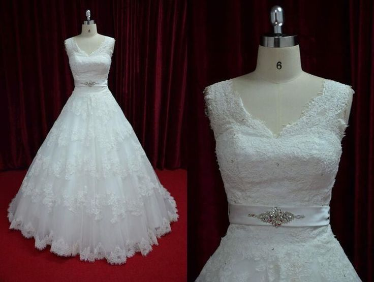 Elegant Embroidery Lace Wedding Dress Bridal Ball Gown with Sweep Train JY13028