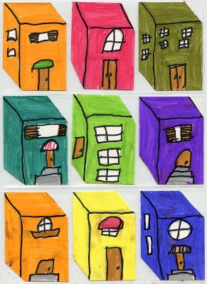 Art Projects for Kids: Little Buildings ATCs