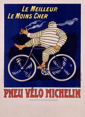 no handed, cigar smoking, michelin man on bike.