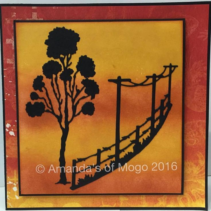 Sunset outback gum tree card with fencing and power poles #amandasofmogo #mogo #handmade #cardmaking #diecut #artdecocreations #gumtree #fence #powerpole