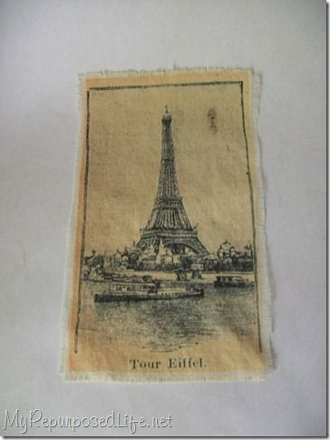 How to print on fabric using adhesive labels and an inkjet printer.  Muslin works well for vintage images.