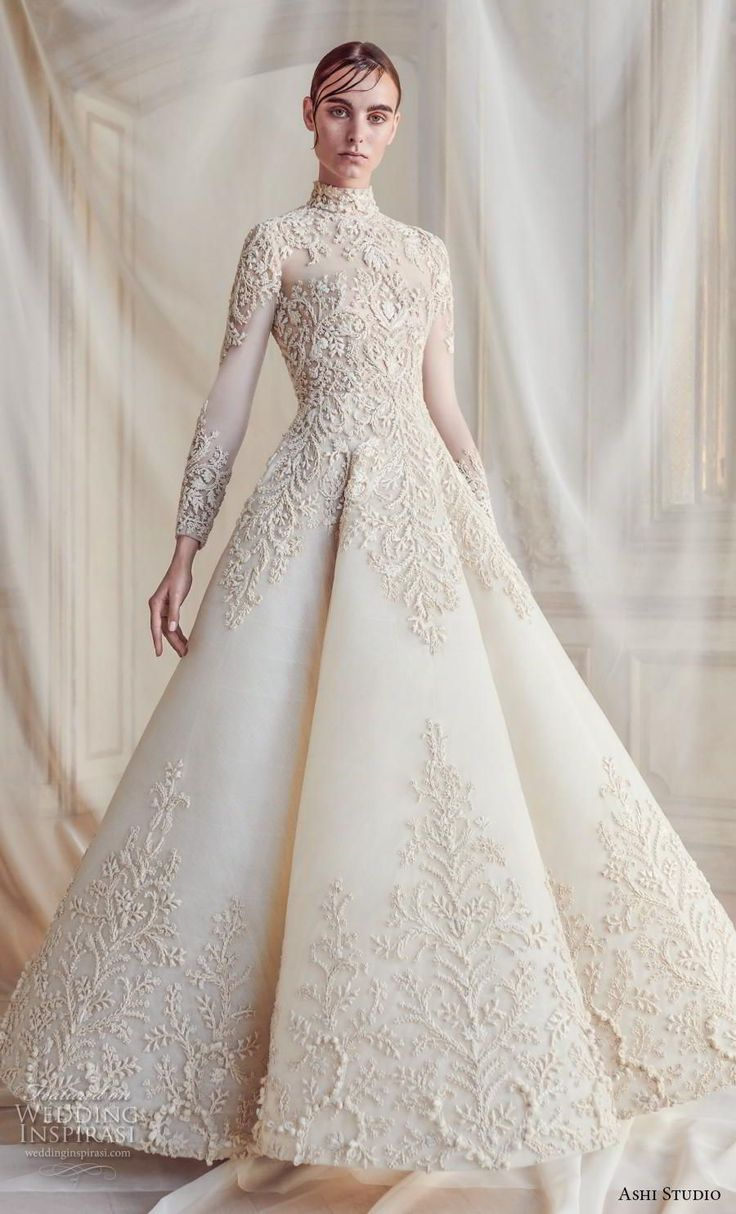ashi studio fall winter 2019 bridal lengthy sleeves excessive neck full embellishment gl…