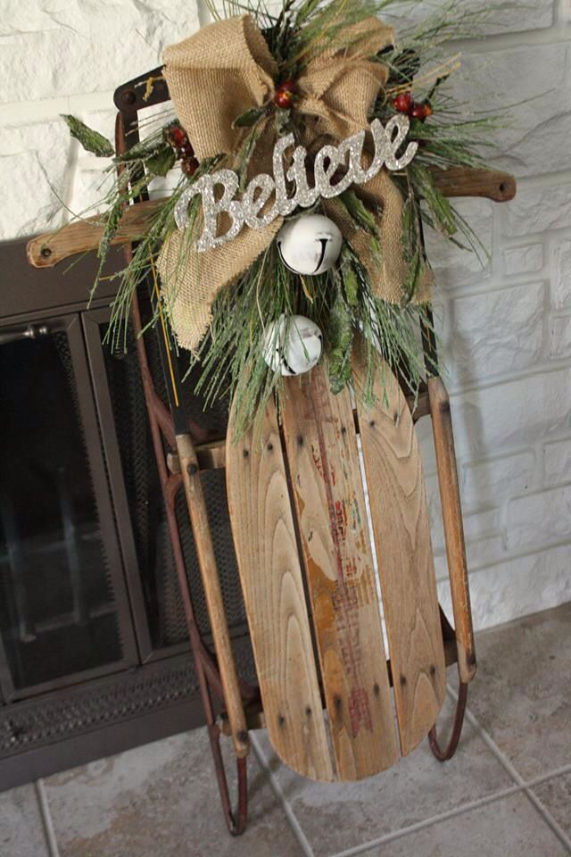 Sled decorated for Christmas.  I have a small old sled like this I might sit by my fireplace next Christmas. Mandy Stoll-Petal Pushers!!!
