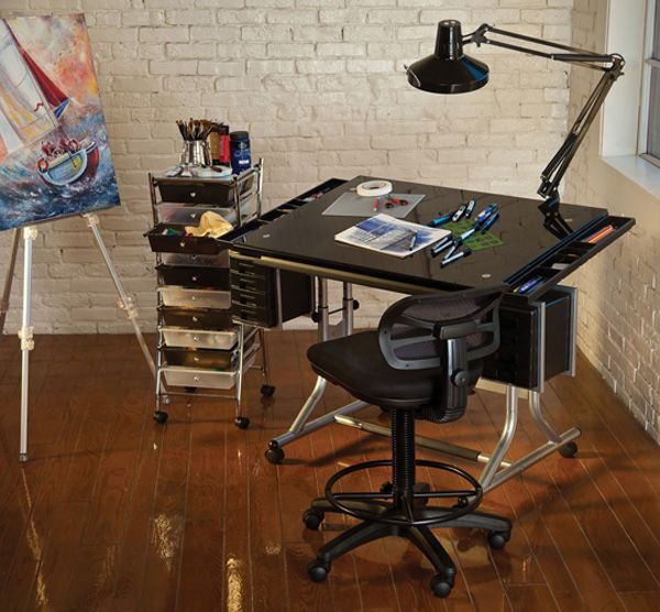 Alvin Craftmaster Ii Black Glass Art Amp Drawing Table Out