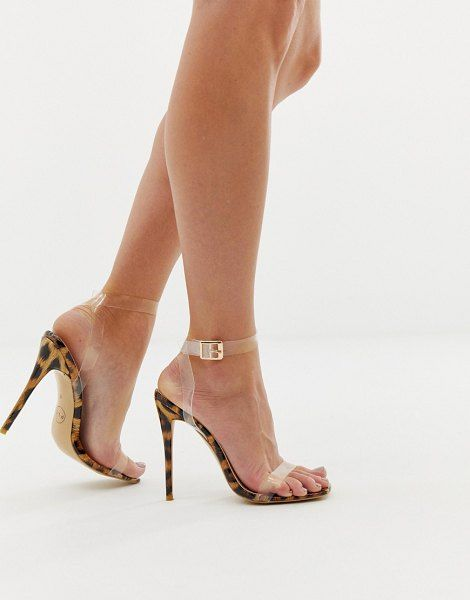a4d5a023d38 PrettyLittleThing clear strap barely there heeled sandal ...