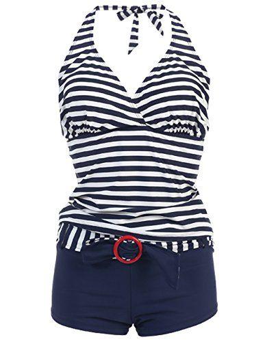 Marina West Women's Halter Tankini & Shorts Swimsuit Set (2 Piece)
