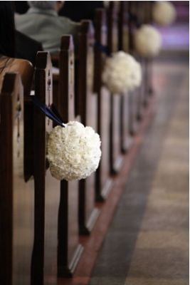 Church pew flower pomanders Wedding aisle flower décor, wedding ceremony flowers, pew flowers, wedding flowers, add pic source on comment and we will update it. www.myfloweraffair.com can create this beautiful wedding flower look.