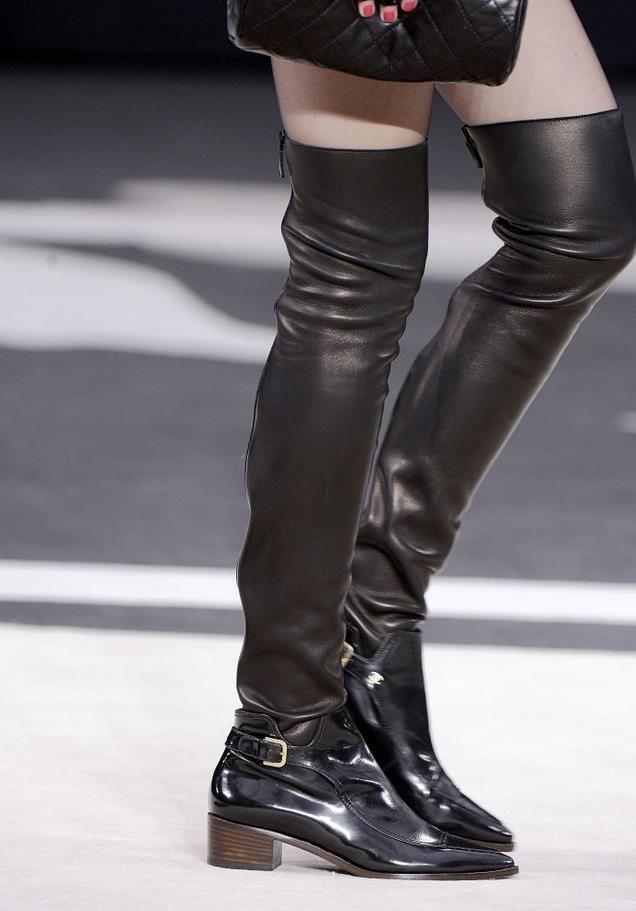 2013 Chanel Knee High Leather Socks Shoes Pinterest