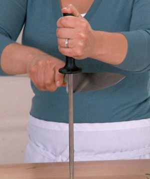 See how to sharpen a knife. A sharp knife is safer than a dull one: It's less likely to slip off what you're chopping and slice your finger instead. This video shows how to hone a knife.