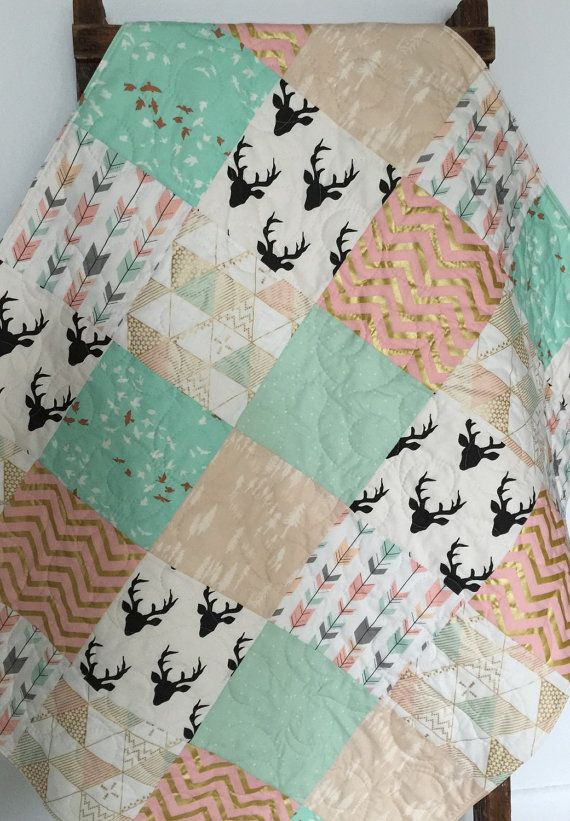 Baby Quilt, Girl, Blanket, Brambleberry, Glitz, Southwest, Woodland, Stag, Hello Bear, Chevron, Gold, Mint, Coral, Crib Bedding,Baby Bedding