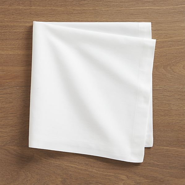 Set of 8 Fete White Cotton Napkins  | Crate and Barrel