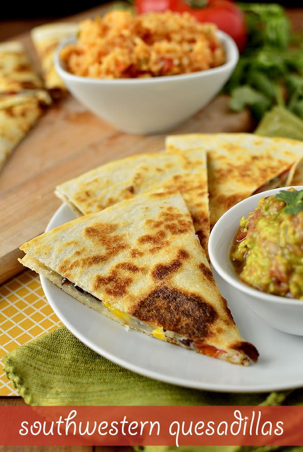 Southwestern Quesadillas are fresh and fast. Great for a quick weeknight lunch or dinner, or yummy party appetizer! | iowagirleats.com