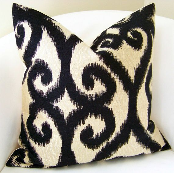 Ikat Decorative Pillow Cover 20 x 20 Accent Cushion Throw Black Beige. $35.00, via Etsy.