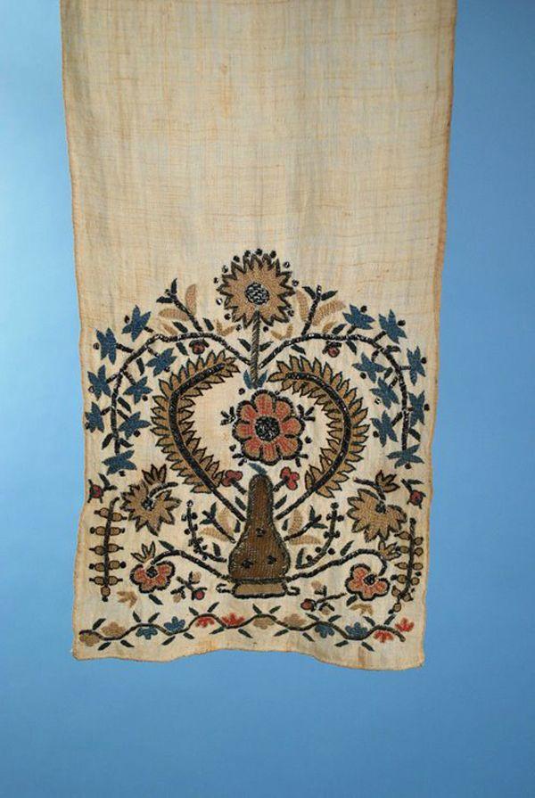 ottoman embroidery | Antique 19th Century Ottoman Turkish Polychrome Embroidered Sash