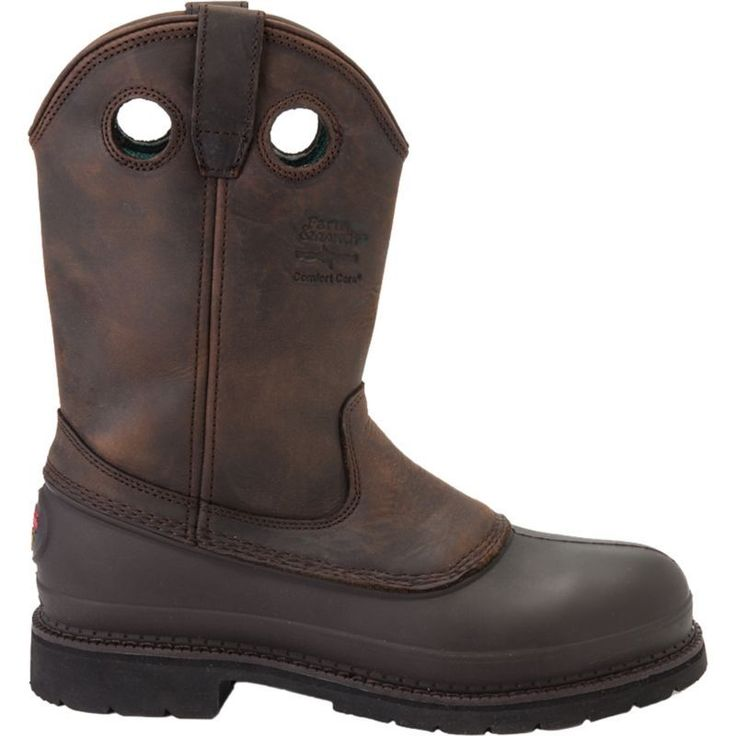 """Georgia Boot Men's Mud Dog 11"""" Wellington Pull On Work Boots, Size: 11.0 WIDE, Brown"""