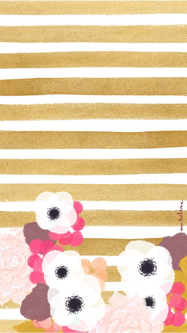Pink blush white gold watercolour floral stripes iphone wallpaper phone background lock screen