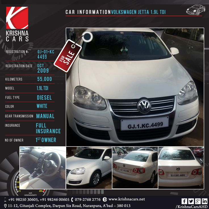 #usedCar for sale  CAR INFORMATION - VOLKSWAGEN JETTA 1.9L TDI REGISTRATION # GJ-01-KC-4499 REGISTRATION DATE - OCT-2009 KILOMETERS - 55,000 MODEL - 1.9L TDI FUEL TYPE - DIESEL COLOR - WHITE GEAR TRANSMISSION - MANUAL INSURANCE - FULL INSURANCE NO OF OWNER - 1st OWNER  #VOLKSWAGEN #JETTA #TDI #usedVOLKSWAGEN #usedJETTA #usedTDI #Car #CarDealer #UsedCarDealer #PreOwnedCar #KrishnaCars #Ahmedabad