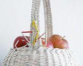 White, hand-woven basket.