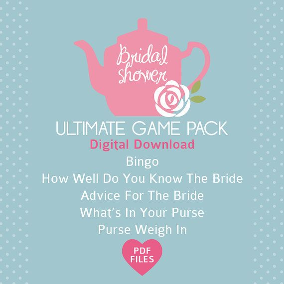 High Tea Bridal Shower Pack- 5 activities. Bridal Bingo-40 cards, What's In Your Purse, Purse Weigh In, Advice to Bride & How Well Do You Know Bride