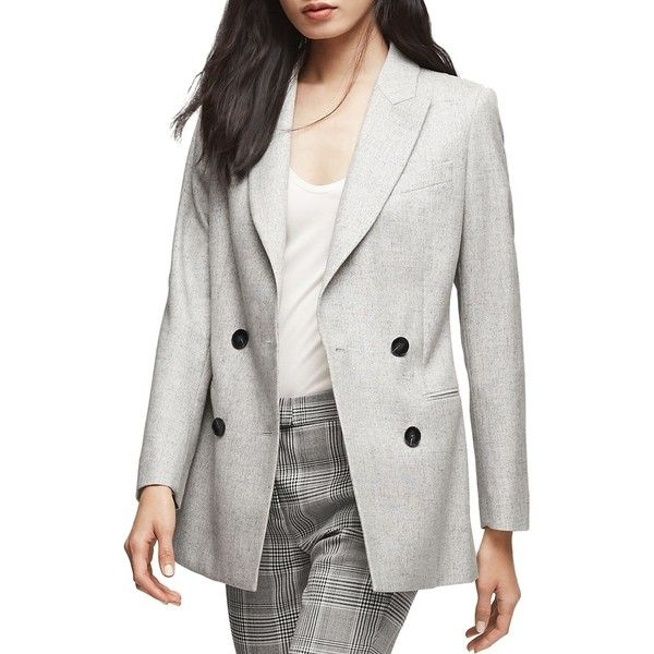 Reiss Logan Double-Breasted Blazer (1 720 PLN) ❤ liked on Polyvore featuring outerwear, jackets, blazers, grey, grey double breasted blazer, blazer jacket, double breasted jacket, double-breasted blazers and reiss