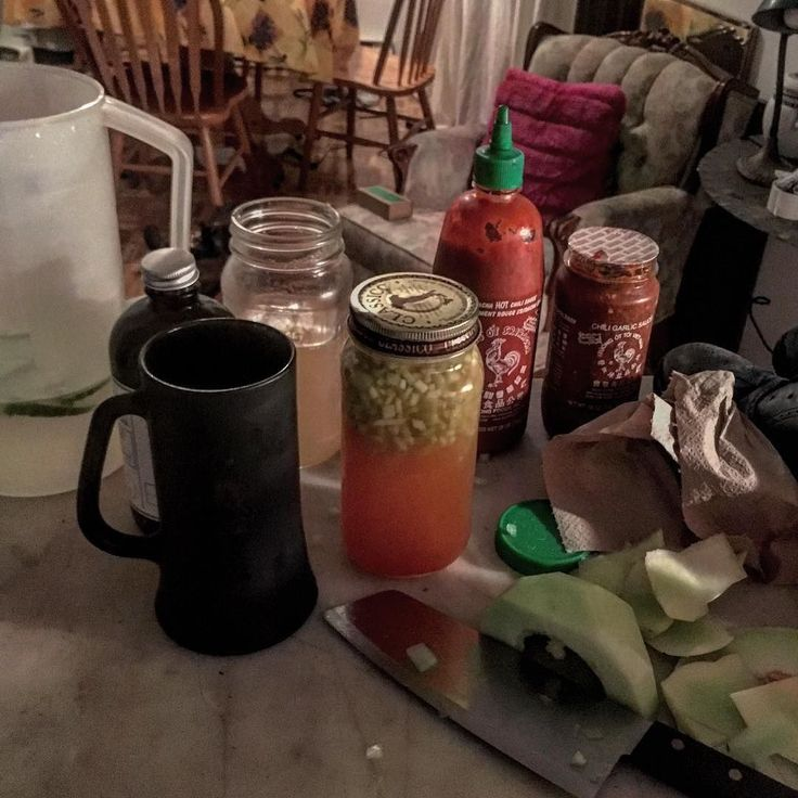 #nightcap #nonalcoholic #cocktail Home brew Apple vinegar cucumber water and tonic syrup to balance #siracha AND #sambal ( yes both if you ask why you don't get it) honey dew brunoise #getto #shaker served in one of my most loved possessions #1960s #vintage #playboy #club #beermug  a collectors item but feeling like a #pimp when I drink a non alcoholic drink ..... #priceless