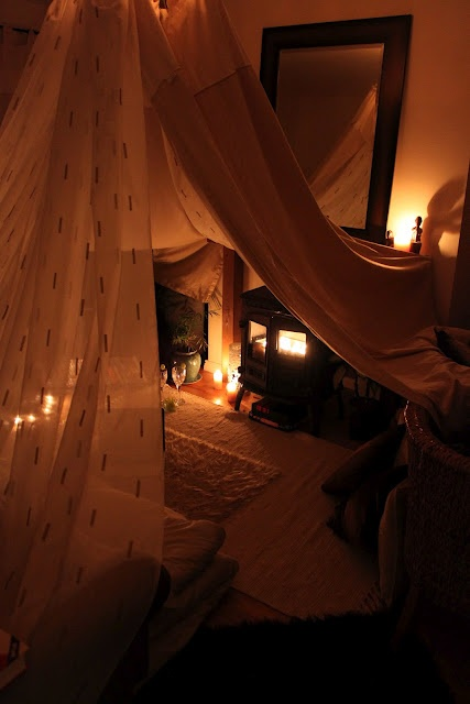 A romantic adults den I made for my hubby and I's anniversary - so much fun!