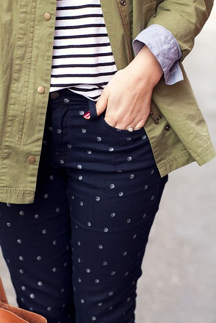 mixing dots & stripes...hmmm I have the exact same stuff in my closet.  maybe i'll see what it looks like on me ;-P