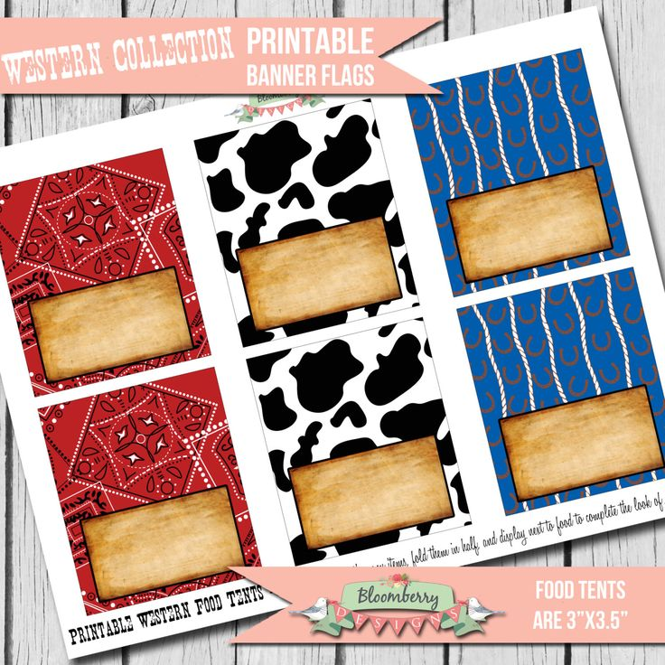 Western Party Food Tents, Western Party Decor, Cowboy Food Tents,  Printable Food Tents by Bloomberry Designs by BloomberryDesigns on Etsy https://www.etsy.com/listing/192587589/western-party-food-tents-western-party