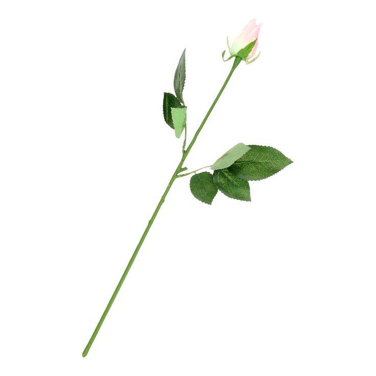 Gesloten kunst roos met licht roze blaadjes. Afmeting: lengte 44 cm - Kunst Roos - Roze