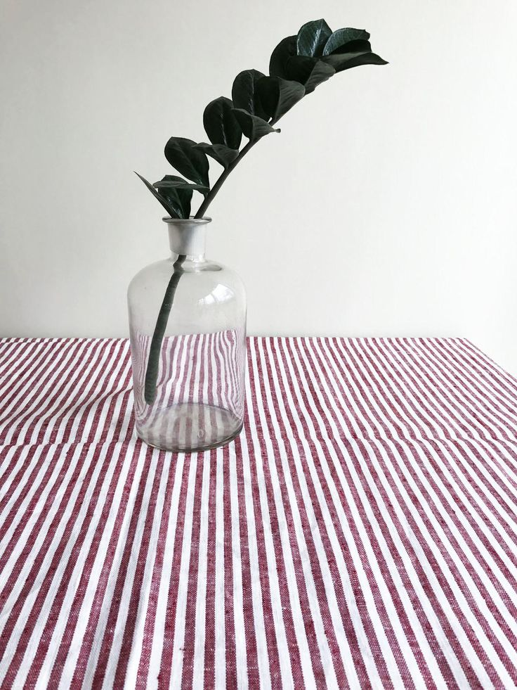 Red Striped Tablecloth From Linen, Linen Table Cloth, Square Tablecloth,  Rectangle Oval Rustic