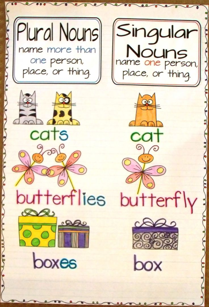 2nd and 1st Grade Smarty-Arties taught by the Groovy Grandma!: Singular and Plural Nouns Anchor Chart