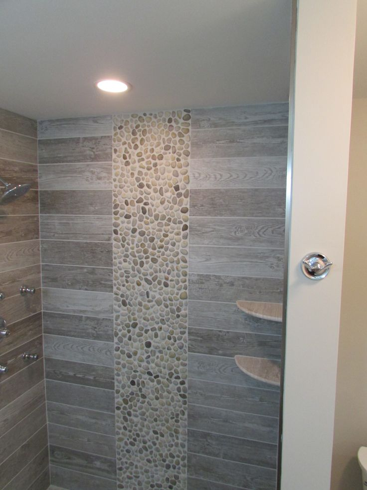 Master Shower 5 Shower With Shelves Rectangle Wood Look