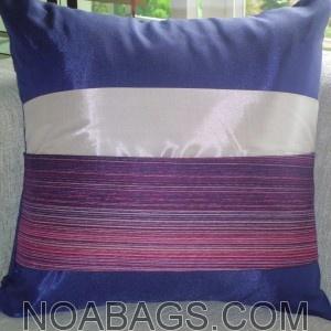 Housse de Coussin en Soie Thaï avec reflets brillants de couleur Myrtille-Violet - 40*40cm