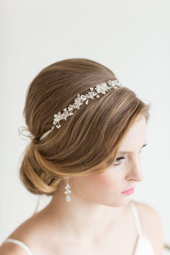 Crystal Ribbon Headband Wedding Floral by PowderBlueBijoux on Etsy More