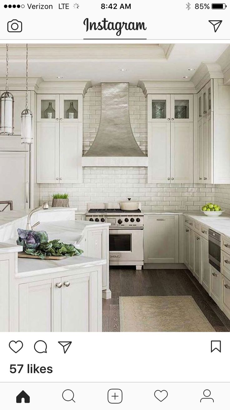 The granite gurus whiteout wednesday 5 white kitchens with super - Dream Kitchens White Kitchens Kitchen Hoods Kitchen Ranges Kitchen Exhaust Vent Hood Exhaust Hood Transitional Kitchen Marble Countertops