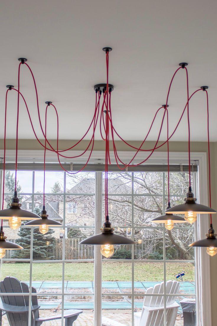 Swag Chandelier With 8 Pendants Red Spider Light Fixture