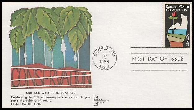 2074 / 20c Soil and Water Conservation Gill Craft 1984 First Day Cover - First Day Covers Online