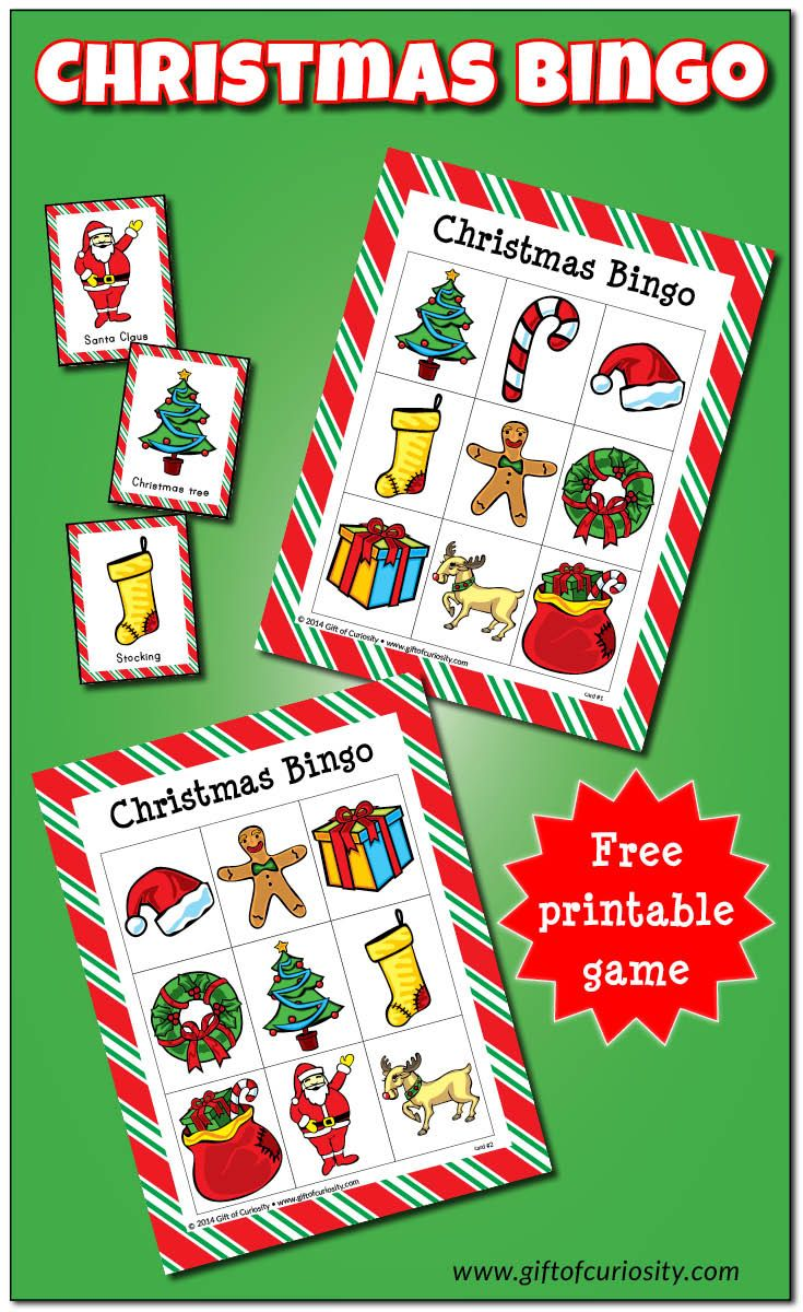 Free printable Christmas Bingo game with 10 different playing cards. The bold, beautiful illustrations make this Christmas game a delight to play! || Gift of Curiosity
