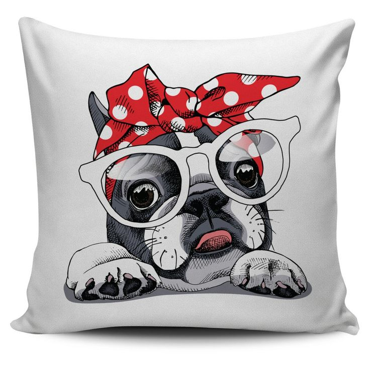 French Bulldog Puppy in Headphones, illustration on pillow, $5 FLASH SALE