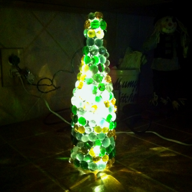 Wine bottle with glass marbles craftastic pinterest for Wine bottle night light diy