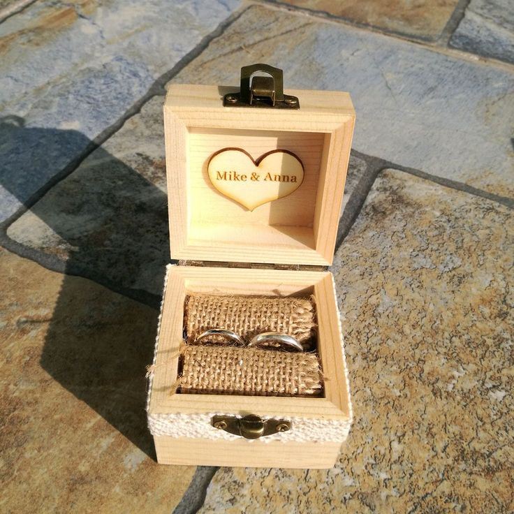 Simple Engraved Wooden Ring Box