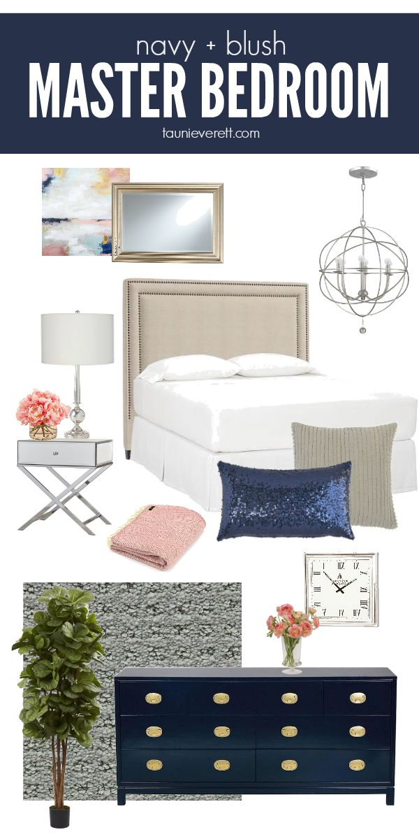 Navy and Blush Master Bedroom   Tauni Everett   Navy ...