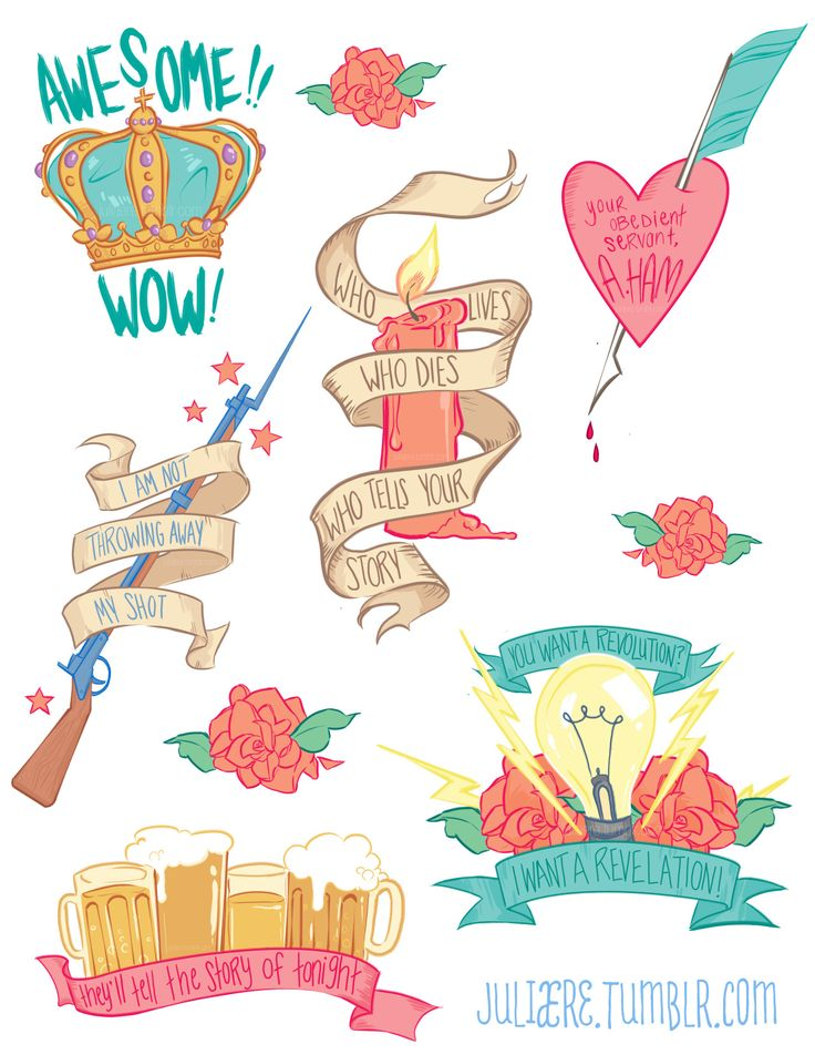 """juliaere: """" Some Hamilton sticker designs because I have been very single minded in my interests lately~ """""""