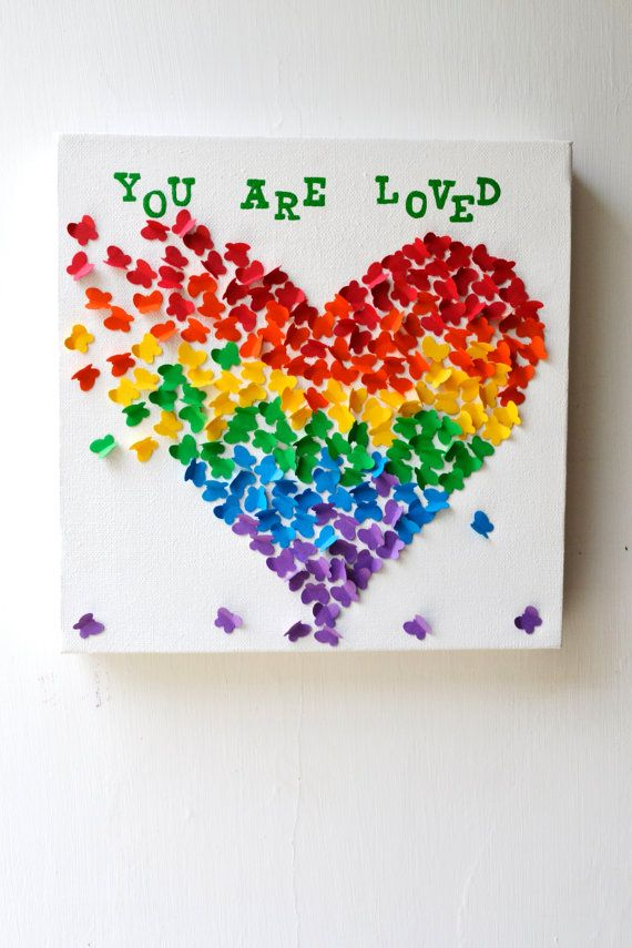 YOU ARE LOVED - 3D Butterfly Art / Butterfly Rainbow Heart / Nursery Decor /Children's Room Decor / Baby Shower Decor / Unique Birthday Gift