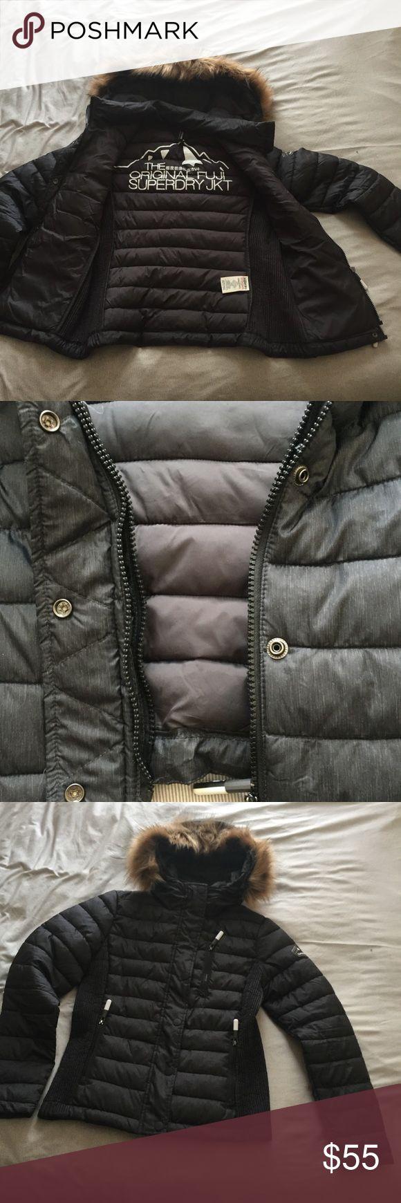 Superdry jacket • Size medium!  • Double zipper  • fakefur removable • keeps warm #superdry #medium #jacket #fakefur  #darkblue Superdry Jackets & Coats Puffers