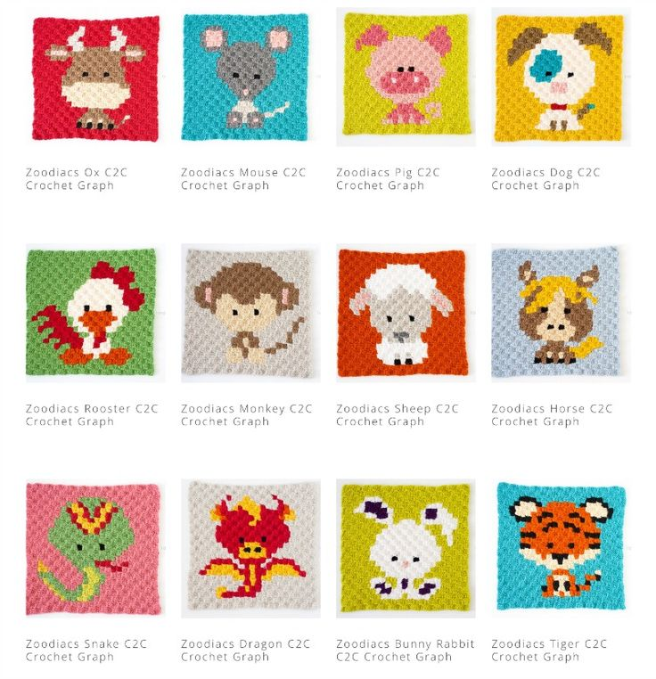 The zoodiacs collection c2c crochet